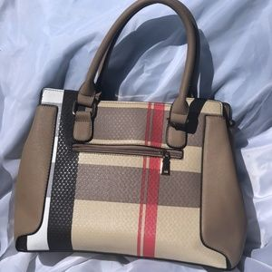 Brown & Red Plaid Purse - GREAT SHAPE!